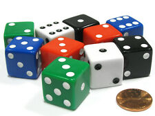 Set of 10 Large Six Sided Square Opaque 19mm D6 Dice - 2 Ea of 5 Assorted Colors