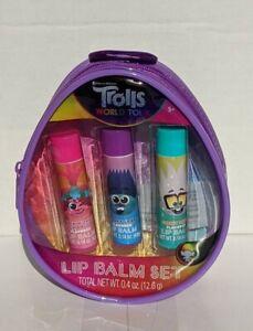 DreamWorks Trolls World Tour Lip Balm 3 Pack w/Zippered Case (New)