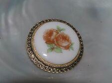 Orange Rose Flowers in Goldtone Rim Vintage Painted Round White Porcelain Rusty