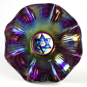 """Imperial Star of David Amethyst Carnival Bowl, Antique c.1910 Electric Color 9"""""""