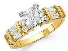 14k Yellow Solid Gold 1.50 ct Princess man made diamond Engagement Ring size 7