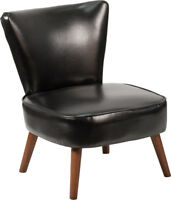 Mid Century Retro Design Black Leathersoft Accent Dining Chair with Wood Legs