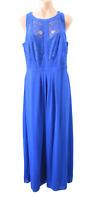 City Chic Dress Size Plus XS Blue Sleeveless Lace Trim Maxi