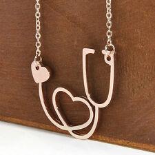 Medical Doctor Nurse ER ECG Stethoscope Heart Charm Pendant Chain Necklace Gift