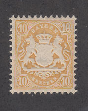 """Bavaria Mi 35I MNH. 1875 10kr yellow Coat of Arms, Major Plate Fault in UR """"10"""""""