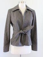 J Crew Robert Noble Scottish Cloth Herringbone Wool Blazer Jacket Tie Front Sz 4