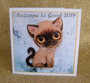 Burmese Cat kitten art painting Christmas card glitter original Suzanne Le Good