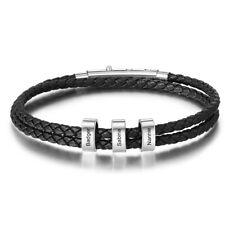 Personalized Braided Bracelet Mens Wristband Leather Beads Name Engraved Bangle