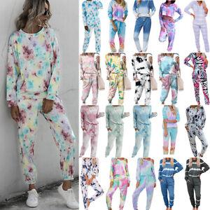 Womens Tracksuit Set Tie Dye Loungewear Long Sleeve Travel Tops Pants Sleepwear