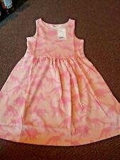 new h+m Girls Pink dinosaur summer dress 4 - 5 - 6  years
