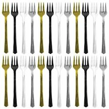 24 fourchettes cocktail party pack or argent noir et transparent [400500] lunch
