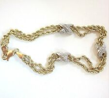 """10k Solid Gold Yellow & White Rope Chain Bracelet With Xs 7"""" long 3.7g"""