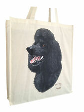 Poodle Black Cotton Shopping Tote Bag with Gusset and Long Handles Perfect Gift