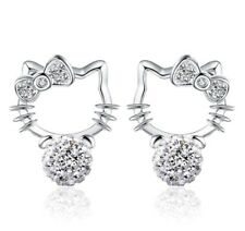 Silver cat stud earrings with crystal shamballa stones M16