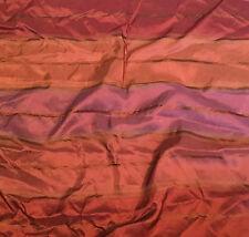 """Rust Red Stripes - Silk TAFFETA Fabric18""""x26"""" remnant"""