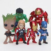 LOT E 6 MINI FIGURINES MARVEL AVENGERS INFINITY WAR GROOT HULK THOR IRON MAN