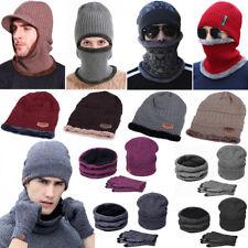 46395176d2b MENS PEAKED KNIT WINTER WARM FLEECE LINED CAP HAT BEANIE EAR FLAPS MASK  OUTDOOR