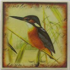 Set of 4 - Handmade Natural Ceramic Tile Stone Drink Coasters - Wild Bird 1 - C