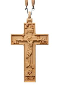 """5"""" Religious Priest Pectoral Cross Proto-Priestly Carved Wooden Crucifix #3 Pray"""