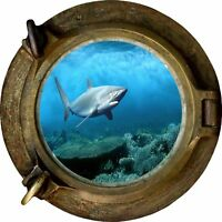 Huge 3D Porthole Shark Under Sea View Wall Stickers Film Mural Decal 478