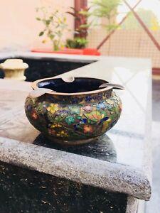 Antique Old Copper Cloisonné Chinese Ashtray Bowl Pot Enamel Gold Work