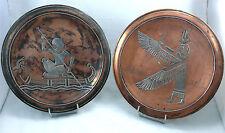 Paire de plats décoratif en cuivre, application d'argent, Egypte, Islam.