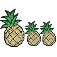 3pcs Pineapple DIY Applique Clothes Patches Iron Sew on Stickers Badge Unique