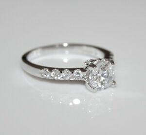 STERLING SILVER 6.6MM 1CT CZ SOLITAIRE RING SIZE N 1/2 *IMPERFECT*