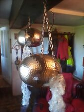 More details for a pair of large silver beaten metal  effect pendant lights