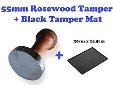 55mm Barista Coffee Hand Tamper Rosewood Handle Flat Base + Large Tamping Mat
