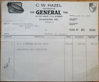 Wilmington, DE 'General Tire' 8/1929 Letterhead / Billhead - Delaware Del