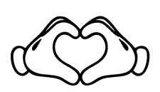disney mickey mouse hands heart vinyl decal sticker laptop car phone ipad