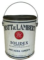 Vintage Paint Can Pratt & Lambert Solidex Arcadia Green Empty Paper Label