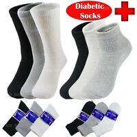 3 6 12 Lots Mens Women Health Circulatory Crew Ankle Cotton Diabetic Socks 9-15
