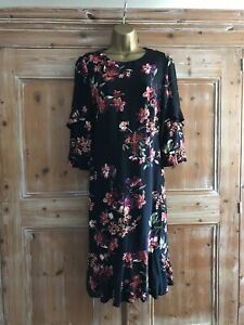 Monsoon Size 10 Black Frilled Dress With Floral Print Work Drinks