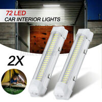 2pcs 12V 72 LED Car Interior Strip Light Bar On Off Switch Van Caravan Boat
