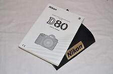 Genuine NIKON D80 Digital SLR Camera Original USER GUIDE Instruction Manual
