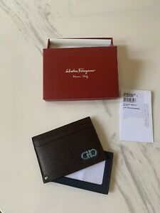 New Auth Salvatore Ferragamo Revival Flip Window Leather Wallet Card Holder $325