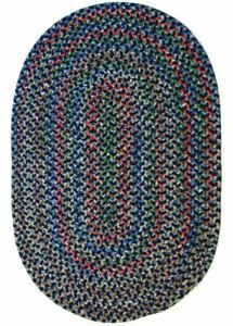 Katie Soft Textured Tweed Polypropylene Country Braided Rug Navy Multi KA13