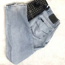 Harley-Davidson Vintage 90s Womens 32x32 Relaxed Mom Jeans Light Blue Distressed