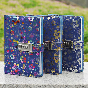A5 Journal Diary Note Book PU Leather Combination Lock and pen holder Stationery