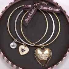 NIB NWT JUICY COUTURE Gold Tone Crown Heart Bangle Bracelet Set YJRU4573 $72