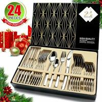 24Pcs Stainless Steel Silverware Set Kitchen Cutlery Flatware Set Service For 6