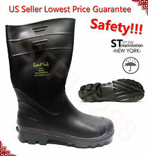 LM Men's Black Rubber Rain Boots Work Safety Boots Shoes Acidproof Alkaliproof