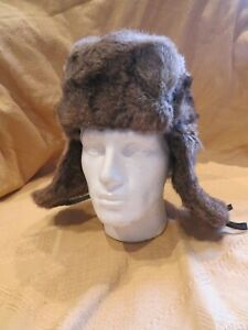 Brown Rabbit Fur Russian Ushanka Hat, Real Fur Hat, Winter Hat