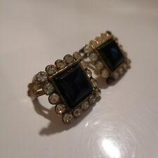 Boucles oreille plaqué or pierre noire saphir blanc bijou art déco femme N4508