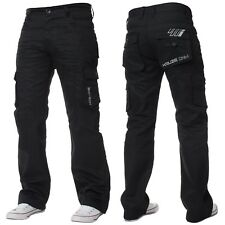 Mens KRUZE Coated Combat Cargo Denim Coated Black Darkwash Jeans Pants Trousers