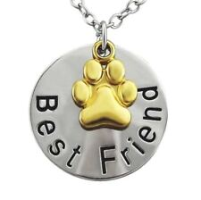 Hals-Kette Best Friend-Anhänger Freund Freundin Silber Gold Pfote Hund Geschenk