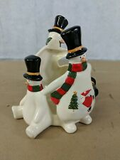 "Festive Ceramic Snowmen Pillar Candle Holder 3"" Diameter Candle (G)"