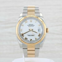 Rolex Oyster Datejust Watch Stainless Steel 18k Gold White Dial 116233 Warranty